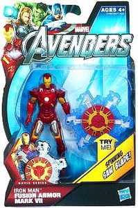Marvel Avengers Movie 4 Inch Action Figure Fusion Armor Iron Man Mark VII [Spinning Saw Blade!]