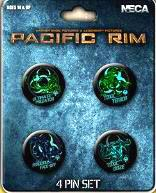 NECA Pacific Rim 4 Piece Pin Set Kaiju