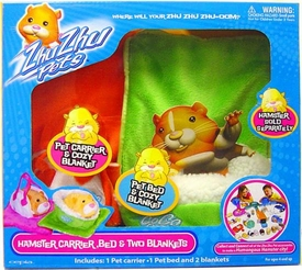 Zhu Zhu Pets Hamster Carrier, Bed & Two Blankets [Green & Orange] Damaged Package, Mint Contents!