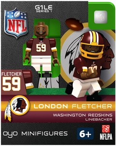 OYO Football NFL Building Brick Minifigure London Fletcher [Washington Redskins]