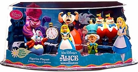 Disney Alice In Wonderland Exclusive 6 Piece Mini PVC Figure Collector Set [Alice, White Rabbit, Cheshire Cat, Mad Hatter, Queen of Hearts, Tweedle Dum & Dee]