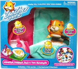 Zhu Zhu Pets Accessory Kit Hamster Carrier, Bed & Two Blankets [Turquoise & Pink]