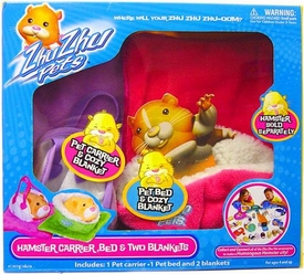 Zhu Zhu Pets Accessory Kit Hamster Carrier, Bed & Two Blankets [Purple & Pink]