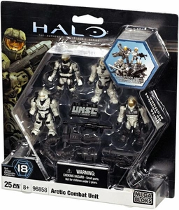 Halo Wars Mega Bloks Set #96858 Arctic WHITE Combat Unit [4 Mini Figures]