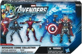 Marvel Avengers Exclusive Comic 4 Inch Action Figure 4-Pack Captain America, Modern Iron Man, Thor & Black Widow