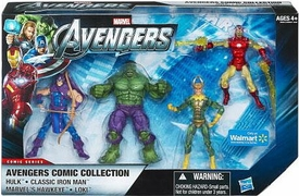Marvel Avengers Exclusive Comic 4 Inch Action Figure 4-Pack Hulk, Classic Iron Man, Hawkeye, & Loki
