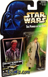 Star Wars POTF2 Power of the Force Hologram Card Han Solo in Endor Gear w/ Blaster Pistol (Blue Pants)