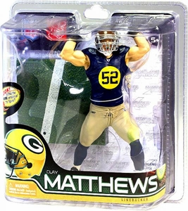 McFarlane Toys NFL Sports Picks Series 28 Action Figure Clay Matthews (Green Bay Packers) Retro Jersey Silver Collector Level Chase Only 900 Made!