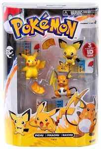 Pokemon TOMY Basic Figure Evolution 3-Pack Pichu, Pikachu & Raichu Hot!