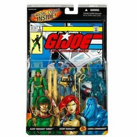 GI Joe Hasbro A Real American Hero 3 3/4 Inch Action Figure 3-Pack Alvin Breaker Kibbey, Agent Scarlett & Cobra Commander