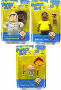 Mezco Toyz Family Guy Classic Series 2 Set of 3 Action Figures [Bedtime Stewie, Secret Agent Astronaut Millionaire Peter & Cleveland Brown]