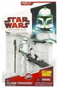 Star Wars 2009 Clone Wars Animated Action Figure CW No. 04 Clone Trooper 41st Elite Corp [Green Deco]
