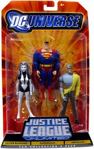 DC Universe Justice League Unlimited Fan Collection Action Figure 3-Pack Silver Banshee, Superman & Metallo