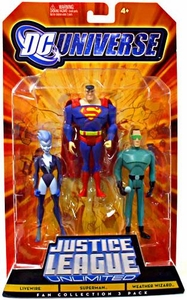 DC Universe Justice League Unlimited Fan Collection Action Figure 3-Pack Livewire, Superman & Weather Wizard