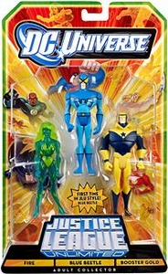 DC Universe JLU Exclusive Action Figure 3-Pack Blue Beetle, Fire & Booster Gold