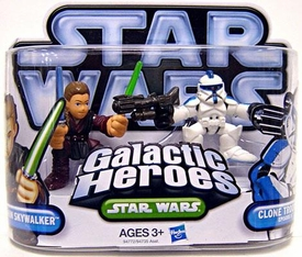 Star Wars 2010 Galactic Heroes Mini Figure 2-Pack Anakin Skywalker & Clone Trooper Episode II