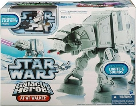 Star Wars 2010 Galactic Heroes Electronic Lights & Sounds Vehicle AT-AT Walker [Includes Speeder Bike & AT-AT Driver Figure!]