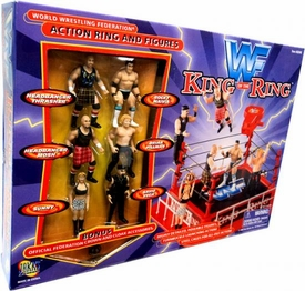 WWF Jakks Pacific King of the Ring Action Ring with 6 Mini Figures Very Rare!