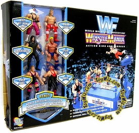 WWF Jakks Pacific WrestleMania Action Ring with 6 Mini Figures Very Rare!