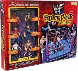 WWF World Wrestling Federation Survivor Series Action Ring with 6 Mini Figures