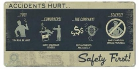 Portal 2 Tin Wall Sign Safety First