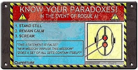 Portal 2 Tin Wall Sign Know Your Paradoxes