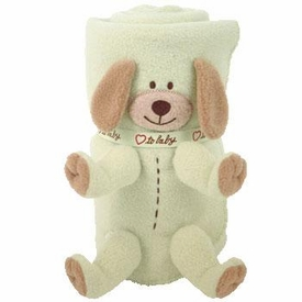Ty Baby Soft Plush Puppy Dog Blanket Green