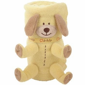 Ty Baby Soft Plush Puppy Dog Blanket Yellow