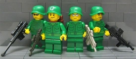 ToyWiz Custom Minifigure Battle-Ready Combat Unit Featuring BrickArms Weapons [Squad Leader, Medic, Sniper & Heavy Support]