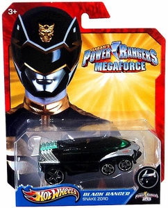 Hot Wheels Power Rangers Megaforce 1:50 Die Cast Car Black Ranger Snake Zord