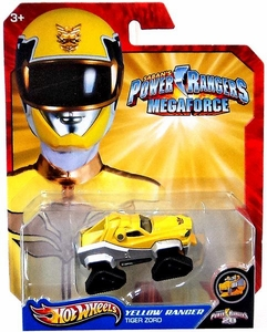 Hot Wheels Power Rangers Megaforce 1:50 Die Cast Car Yellow Ranger Tiger Zord