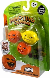 Annoying Orange Kitchen Crew Collectibles Mini Figure 3-Pack Smilin' Orange, Grandpa Lemon & Laughing Orange BLOWOUT SALE!