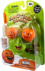 Annoying Orange Kitchen Crew Collectibles Mini Figure 3-Pack Smilin' Orange, Pear & Whoa Orange BLOWOUT SALE!