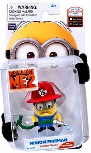 Despicable Me 2 Poseable 2 Inch Action Figure Minion Fireman #1 [Wearing Helmet & Holding Firehose]