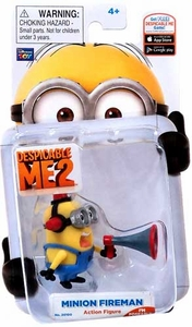 Despicable Me 2 Collectible 2 Inch Action Figure Minion Fireman #2 [Bull Horn]