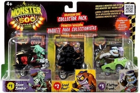 Monster 500 Trading Card & Small Car Collector's 3-Pack [Zoom Zombie, Lead Foot, Flattop Frank] Lead Foot all black Variant!