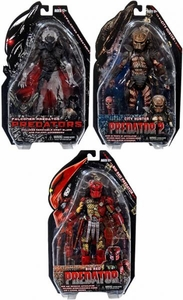 NECA Predator Movie Series 7 Set of 3 Action Figures [City Hunter, Falconer & Big Red]