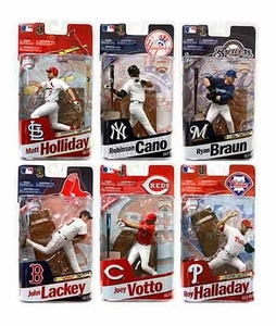 McFarlane Toys MLB Sports Picks 2011 Elite Series Set of 6 Action Figures [Halladay, Cano, Holliday, Votto, Lackey & Braun]