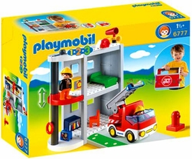 Playmobil 1.2.3 Set #6777 Take Along Fire Station