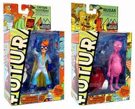 Futurama Toynami Series 4 Set of Both Action Figures [Nudar & Fry as Captain Yesterday]