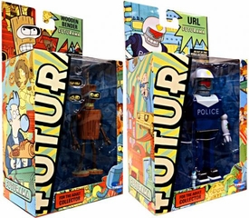 Futurama Toynami Series 9 Set of Both Action Figures [Wooden Bender & URL]