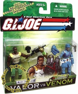 GI Joe Hasbro Valor Vs. Venom 3 3/4 Inch Action Figure 2-Pack Dr. Link Talbot & Cobra Commander BLOWOUT SALE!