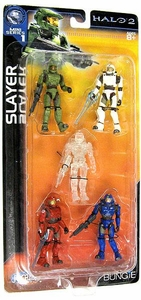 Halo 2 Mini Action Figure 1/18 Scale Slayer 5-Pack [Master Chief, Blue, Red, White & Active Camo]