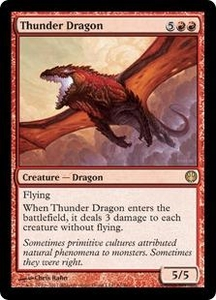 Magic: The Gathering Duel Decks: Knights vs. Dragons Single Card Red Rare #61 Thunder Dragon
