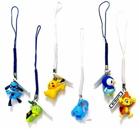Pokemon Set of 6 PVC Figure Phone Danglers [Includes Piplup, Turtwig & Chimchar]