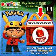 McDonald's Pokemon 2011 Code for Online Virtual Hat