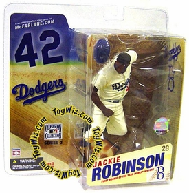 McFarlane Toys MLB Cooperstown Series 3 Action Figure Jackie Robinson (Brooklyn Dodgers) White Uniform