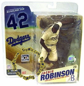 McFarlane Toys MLB Cooperstown Series 3 Action Figure Jackie Robinson (Brooklyn Dodgers) Sepia Color Uniform Variant