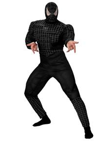 Spider-Man Costume #6616 Black Suited Spider-Man Deluxe Muscle Costume (Adult 42-46)