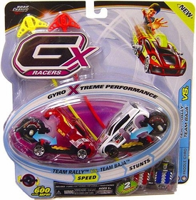 GX Racers 1:64 Cars Speed 2-Pack Team Rally [Off Road Gyro] vs. Team Baja [Paddle Gyro]